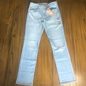 Levi's 724 high rise straight leg distressed jeans